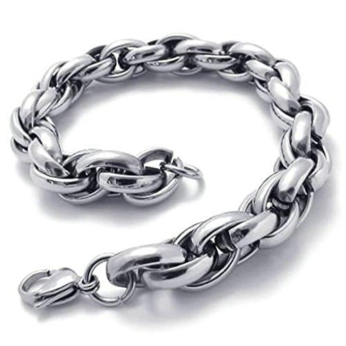 Kostüm Galaxy Gear (Daesar Edelstahl Armband Herren Seil-Armbänder Silberarmband für Herren Länge:8.5)