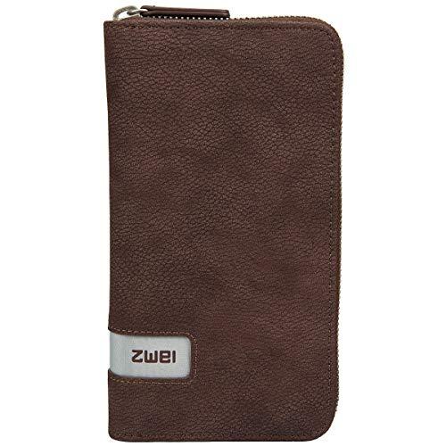 Zwei Wallet MW2 Reißverschluss Geldbörse Portemonnaie Geldbeutel Brieftasche, Farbe:Nubuk Brown