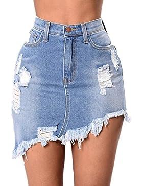 Mujer Falda Rotos, Color Sólido A-Lìnea Adelgazar Skirt de Mezclilla Moda Cintura Alta Casual Verano Mini Falda...