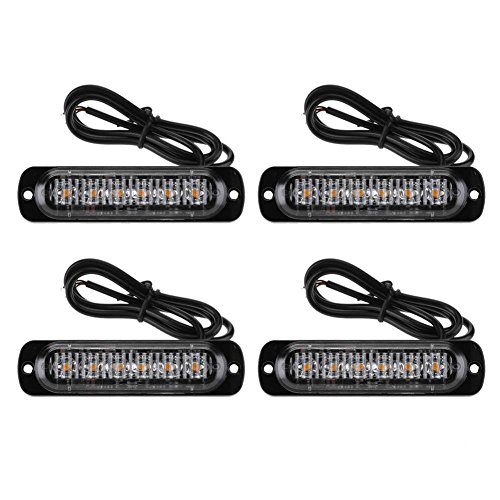 YouN 4pcs 6LED Slim Flash Light Bars Car Vehicle Emergency Warning Strobe Lamps Led Emergency Vehicle Lights
