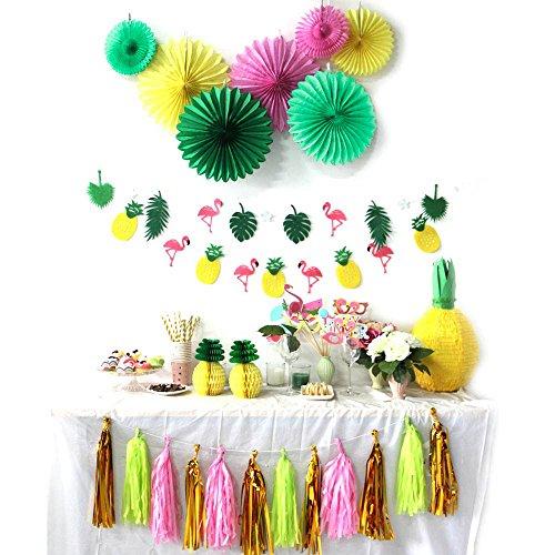 Sunbeauty Decoration Verano Summer Party Papel Rosa y Fenicottero Piña (Verde y...
