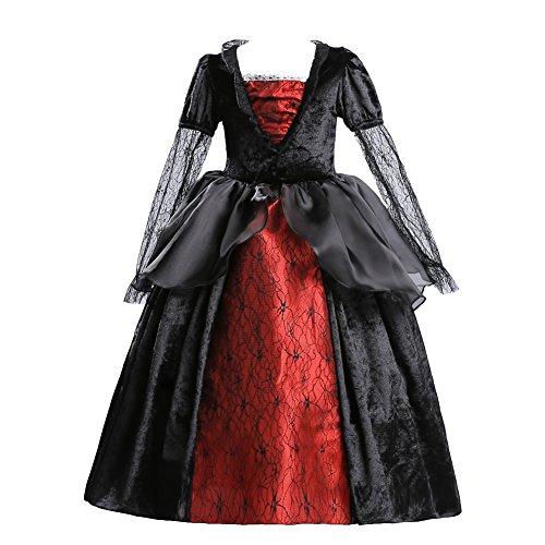 ELSA & ANNA® Mädchen Prinzessin Kleid Verrücktes Kleid Halloween Kostüm Vampir Kleid Kostüm Partei Kostüm Outfit DE-HAL-VAM01 (6-7 Jahre, (Halloween Outfit Mädchen)