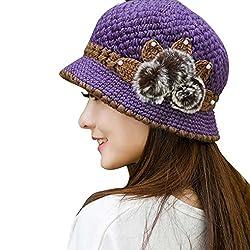 ESAILQ Mode Damen Winter Warm Crochet Strickblumen verziert Ohren Hut (Lila)