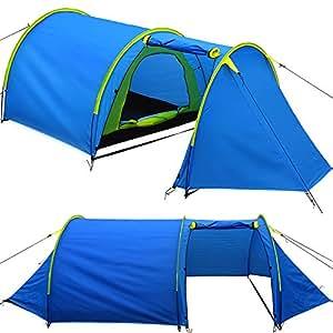 Grande tente tunnel 4 pers. avec antichambre pratique - 395cm - bleu/jaune