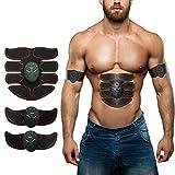 ESMK Bauchmuskeltrainer Elektrisch Elektrostimulator Muskel EMS-Training Mann/Frauen Massage-Gürtel Elektrostimulation Fettverbrennungn Massage-Gerät (Schwarz - Rot)