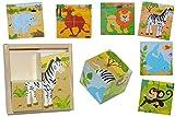 Bilderwürfel Puzzle - Affe Zebra Kamel Delfin Löwe Elefant - 4 Teile mit Vorlagen Holz Würfelpuzzle