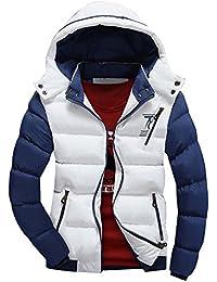 Hombre Invierno Más grueso Chaqueta abajo de la capa encapuchada ligero Mantener caliente Outcoat Blanco L