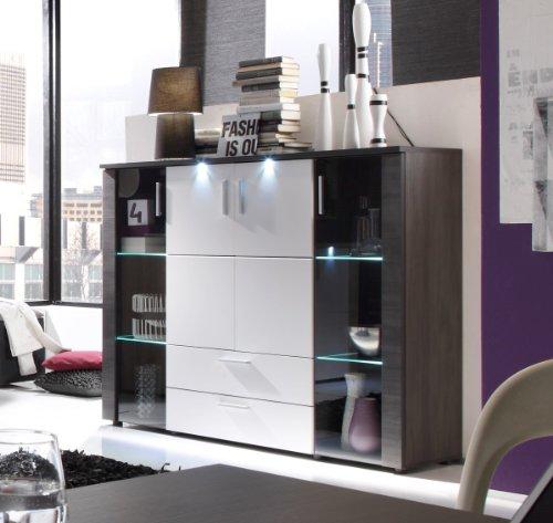 trendteam XP86310 Highboard Wohnzimmerschrank Esche grau Nachbildung, Fronten weiß Nachbildung, BxHxT 150x123x42 cm - 2