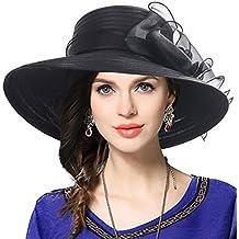 VECRY Mujer Elegante Iglesia Bautismo Boda Derby Sombrero Pamelas
