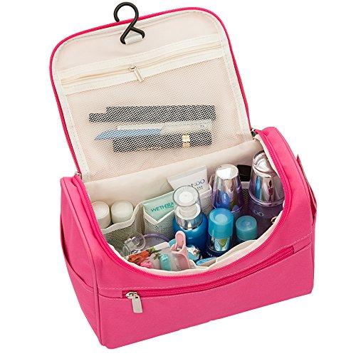 Trousse de toilette de voyage organiseurs Sacs de produits de toilette maquillage Sac de maquillage kit de voyage Sac Lot avec poignée de transport pour voyage & Home (Pink)