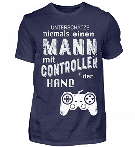 Hochwertiges Herren Shirt - Lustiges T-Shirt für Gamer - Unterschätze Niemals einen Mann mit Controller in der Hand
