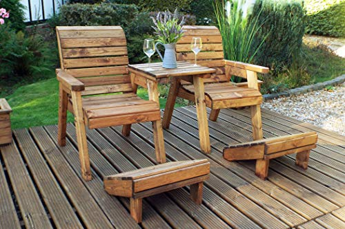 Home Gift Garden Wooden Twin Companion Seat + Footrests - Loveseat - Tete a Tete Seats - Solid Wood Outdoor Patio Decking Furniture