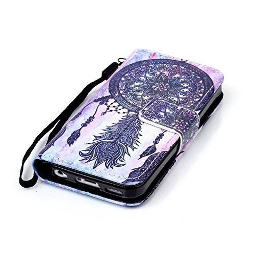 Meet de Apple iPhone 5S Bookstyle Étui Housse étui coque Case Cover smart flip cuir Case à rabat pour Apple iPhone 5S Coque de protection Portefeuille - papillon de pissenlit ethnische Campanula