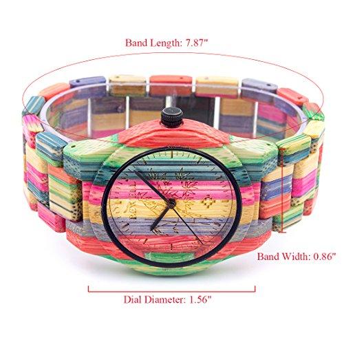 BEWELL Herren Uhr Holz Analog Japanisches Quarzwerk mit Bambus Armband Rund Holzuhr Männer (Mehrfarbig 1) - 3