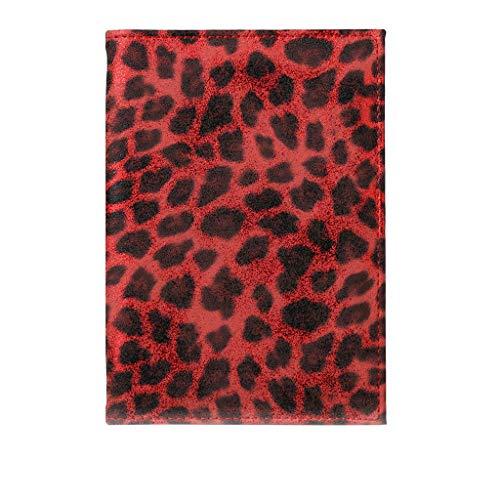 Billetera Mujer,fiosoji Fundas para Tarjetas de crédito para Mujeres,Porta pasaportes Leopardo Billetera de protección magnética Cubierta (Rojo, 14.2cm(W) X 10cm(H) X 0.6cm(T) / 5.59inch(W) X 3.9)