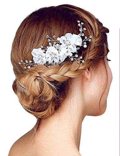 Miya 1Stück MEGA Glamour Braut Kamm Haarkamm Steckkamm mit wunderschöner Blumen Blüte, verschönert mit Perle und Kristallen, Braut Schmuck Hochzeit Jugendweihe...