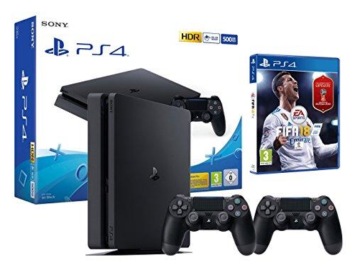 PS4 Slim 500Go Noir Playstation 4 - FIFA 18 + 2 Manettes Dualshock 4