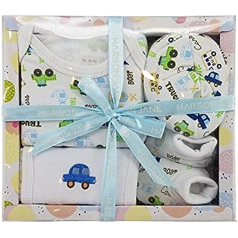 Harson&Jane 100% de algodón para bebés Lote - Body, Babero, Gorra, botines de 0-6 meses de bebé recién