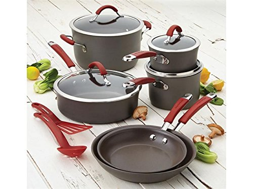 Rachael Ray 12-pc. Nonstick Cucina Hard Anodized Cookware Set (Red)