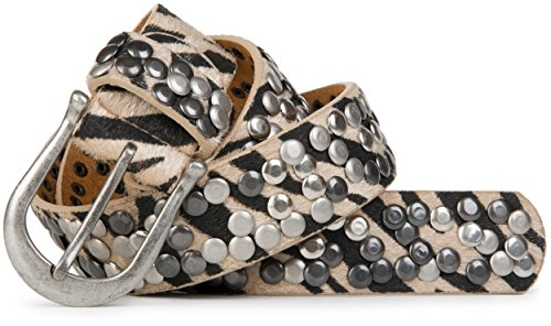 styleBREAKER Zebra Muster Nieten Gürtel im Vintage Style mit echtem Leder, Zebrafell Imitat, kürzbar 03010008, Farbe:Hellbraun;Größe:85cm Leder Animal-print