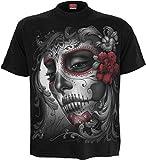 Spiral-Camiseta para mujer diseño de calavera de rosas-la parte delantera negro negro negro Small
