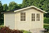 Casita de madera de abeto para jardín - Dimensiones: 10 m²; 380 x 320 cm; 28 mm