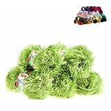 maDDma  5 x 100g Strickgarn Yumos Fransenstrickgarn Strickwolle, Verschiedene Farben, Farbe:6086 pistaziengrün