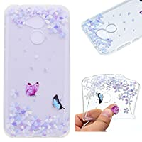Huawei Honor 6A Smartphone Case,Ultra Slim Premium Soft TPU Silicone Case Transparent Flexible Lightweight Rubber Durable Back Shockproof Bumper Anti-Scratch Anti-Slip Grip Cover Protective Case for Huawei Honor 6A - Flower butterfly