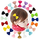 Dooppa 20 pcs ruban Bowknot bébé fille Pinces à cheveux Snap Pinces Alligator Barrette