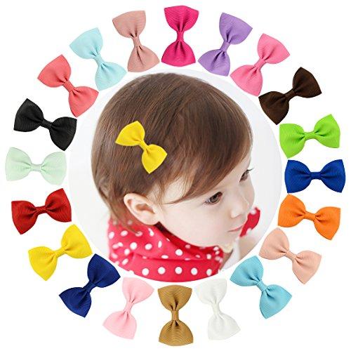 Dooppa 20 horquillas para el pelo, con cierre de clip, para niñas y bebés, de cinta, con diseño de lazo