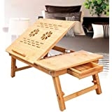 WHIZZO Natural Bamboo Color Adjustable Laptop Desk Foldable Tray Table With Drawer And Cup Holder