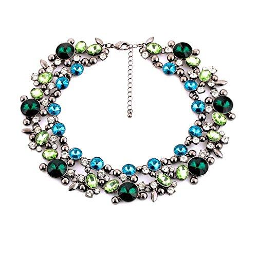 LIN-NCLS Luxuriöse klobige Lätzchen-Halskette Bunte Damen Halskette Übertriebener Schmuck Braut Verlobungshochzeit (Farbe : Blau) -
