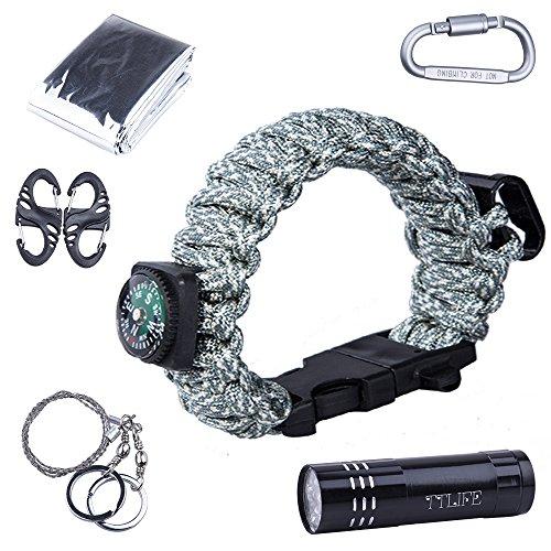 TTLIFE Eccellente kit di sopravvivenza multiuso, 12 pezzi (braccialetto di Paracord con compasso, apribottiglie, fischietto, avviatore di fuoco e una torcia LED, coperta di emergenza, moschettone, raschietto, sega a filo)