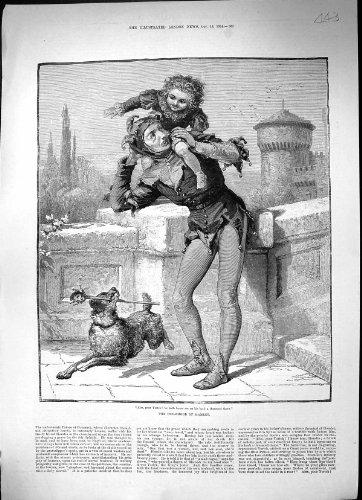 Antiker Mann-KinderSpaßvogel-Kostüm-Hund 1884 Druck-Kindheits-Hamlets (Hamlet Kostüme)