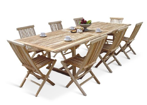 XXS® Möbel Gartenmöbel Set Caracas 9tlg acht praktische Klappstühle Menorca Tisch Kuba ausziehbar hochwertiges Teak Holz pflegeleicht