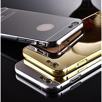 Luxury Aluminum Metal Bumper Mirror PC Back Case Cover for iPhone 6 Plus Gold Color