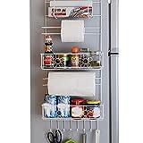 Yzibei Ideal für Küche/Bad Metall Sidewall Saugnapf Kühlschrank Lagerregal Gewürzregal und Multi-Purpose Shelf-Wall Mounted Lagerung für Küche Zubehör Handtücher Toilettenartikel Supplies Etc