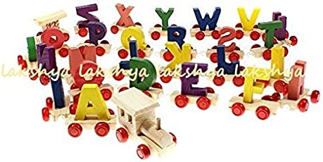 Lakshya-Wooden A to Z Train Set || Multiple Coloured || 26 Alphabet Blocks with Fine Finish and Quality
