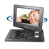 Tragbarer DVD CD MP3 MP4 Player, Reise Anto Rücksitz DVD Player, schwenkbaren Bildschirm, unterstützt SD-Karte und USB, 1024*600 Pixels, mit Auto-Ladegerät-Schwarz (7inch)