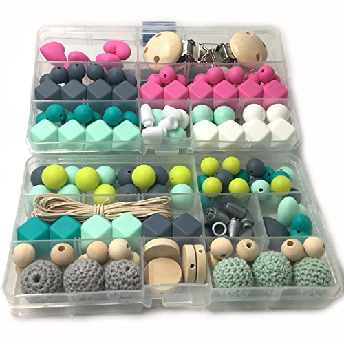Coskiss DIY Krankenpflege Halskette Kit 2 Boxed Mixed Farbe Geometrie Hexagon Silikon Perlen Herzförmige Silikon Runde Silikon Perlen Hölzerne Häkeln Perlen Schnuller Clip Baby Teether Spielzeug (A124+S407)