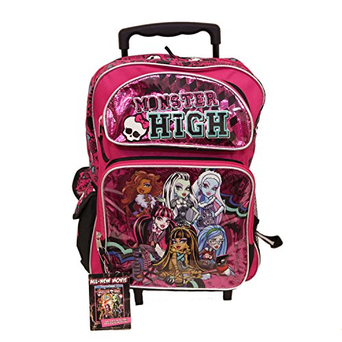 Large Rolling Sac à dos–Monster High–Varsity Team Rose Noir NEUF 098739