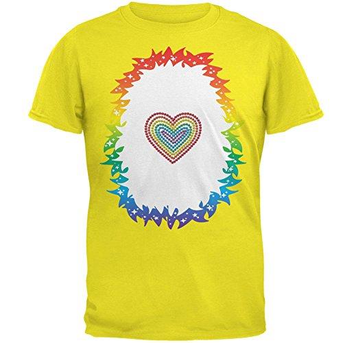 Halloween Regenbogen Herz Einhorn Kostüm Pony Mens-T-Shirt hell gelbe X-LG (Regenbogen Helles Kostüm Xl)