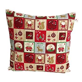 """Original TryPinky® Handmade Kissenbezug 40 X 40 cm"""" Weihnachtsmuster Rot Beige"""" Kissenhülle für Kissen Weihnachten Eichhörnchen Weihnachtsmann"""