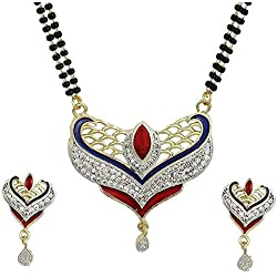 Charms American Diamond Gold Plated Mangalsutra Pendant with Chain and Earrings for Women