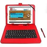 DURAGADGET Funda / Teclado Color ROJO En ESPAÑOL Con Letra Ñ Para Tablet ONDA V975M Quad Core Con Conexión MicroUSB + Lápiz Stylus - Función Atril