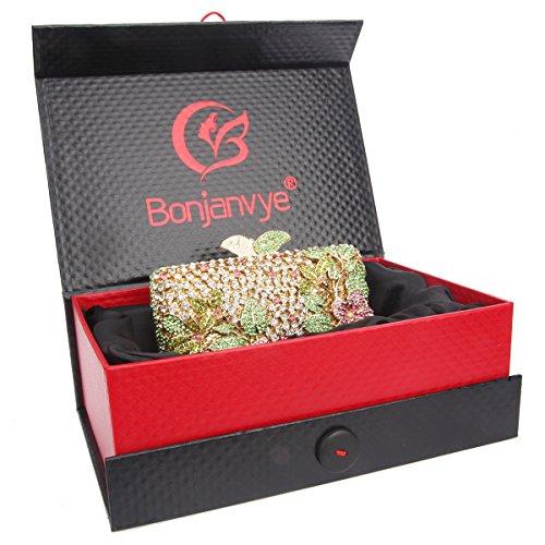 Bonjanvye Flower Kisslock Purses with Crystal Rhinestones Evening Clutch Bag Gold Multicolor