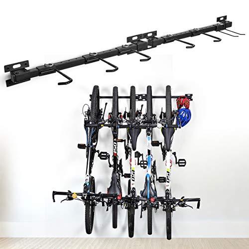 Fahrradständer zusammenklappbarer Fahrradständer für die Wandmontage Fahrradhalterung Fahrradständer für Fahrräder Aufbewahrungsständer für 5 Fahrräder verstellbares Trägersystem für Haus und Garage -