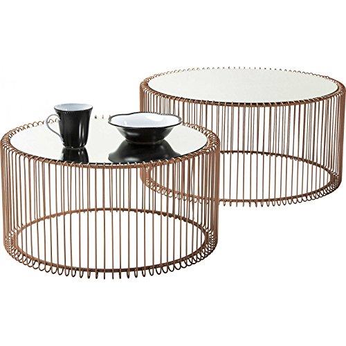 Couchtisch Wire Copper 2er Set, Kupfer, runder, moderner Glastisch, großer Beistelltisch, Kaffeetisch, Nachttisch, (H/B/T) 30,5xØ60cm & 33,5xØ69,5cm (Runde Couchtisch Große)