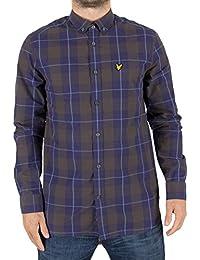 Lyle & Scott Hombre Camisa del logotipo de la comprobación de Poplin, Azul