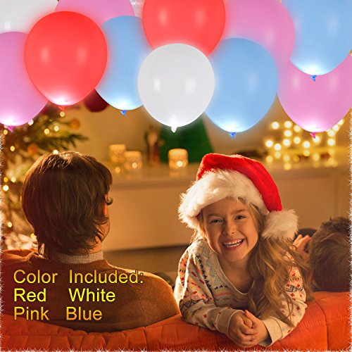 AGPTEK 40 PCS Q02 Colorful Led Balloons Wedding Light Up Balloons with Ribbon for Party Birthday Wedding Festival Decoration Pool